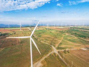 wind turbine field and blue sky