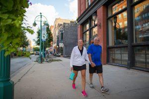 couple walking in the Third Ward, Milwaukee