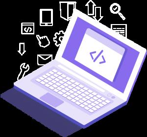 html on laptop illustration