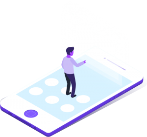person on cellphone isometric illustration